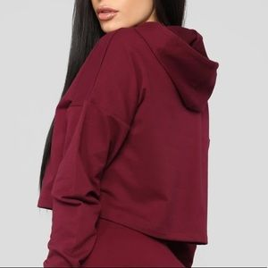 """FN """"Latest And Greatest Crop Hoodie"""" in burgundy"""
